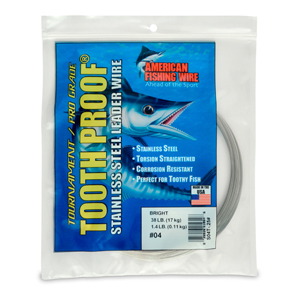 #4 ToothProof Stainless Steel Single Strand Leader, 38 lb (17 kg) test, .013 in (0.33 mm) dia, Bright, 1/4 lb (114 g)