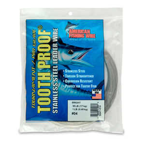 #4 ToothProof Stainless Steel Single Strand Leader, 38 lb (17 kg) test, .013 in (0.33 mm) dia, Bright, 1 lb (454 g)