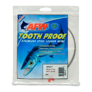#4 ToothProof Stainless Steel Single Strand Leader, 38 lb (17 kg) test, .013 in (0.33 mm) dia, Bright, 30 ft (9.2 m)