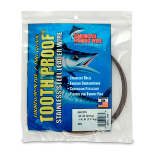 #5 ToothProof Stainless Steel Single Strand Leader, 44 lb (20 kg) test, .014 in (0.36 mm) dia, Camo, 1/4 lb (114 g)