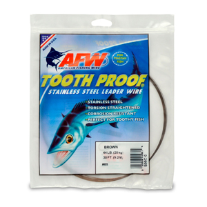 #5 ToothProof Stainless Steel Single Strand Leader, 44 lb (20 kg) test, .014 in (0.36 mm) dia, Camo, 30 ft (9.2 m)