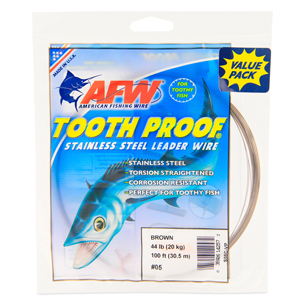 #5 ToothProof Stainless Steel Single Strand Leader, 44 lb (20 kg) test, .014 in (0.36 mm) dia, Camo, VALUE PACK 100 ft (30.5 m)