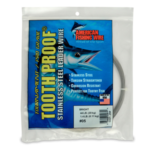 #5 ToothProof Stainless Steel Single Strand Leader, 44 lb (20 kg) test, .014 in (0.36 mm) dia, Bright, 1/4 lb (114 g)