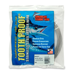 #5 ToothProof Stainless Steel Single Strand Leader, 44 lb (20 kg) test, .014 in (0.36 mm) dia, Bright, 1 lb (454 g)