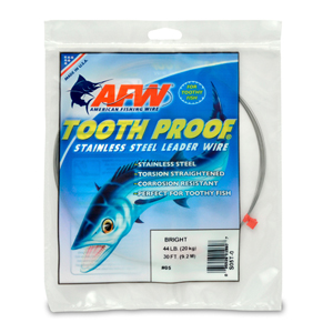 #5 ToothProof Stainless Steel Single Strand Leader, 44 lb (20 kg) test, .014 in (0.36 mm) dia, Bright, 30 ft (9.2 m)