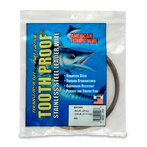 #6 ToothProof Stainless Steel Single Strand Leader, 58 lb (26 kg) test, .016 in (0.41 mm) dia, Camo, 1/4 lb (114 g)
