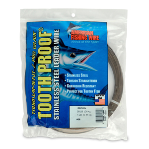 #6 ToothProof Stainless Steel Single Strand Leader, 58 lb (26 kg) test, .016 in (0.41 mm) dia, Camo, 1 lb (454 g)