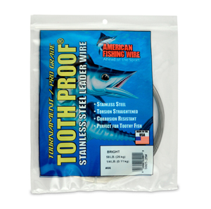 #6 Tooth Proof Stainless Steel Single Strand Leader Wire, 58 lb (26 kg) test, .016 in (0.41 mm) dia, Bright, 1/4 lb (114 g)