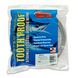 #6 ToothProof Stainless Steel Single Strand Leader, 58 lb (26 kg) test, .016 in (0.41 mm) dia, Bright, 1 lb (454 g)