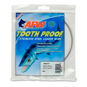 #6 ToothProof Stainless Steel Single Strand Leader, 58 lb (26 kg) test, .016 in (0.41 mm) dia, Bright, 30 ft (9.2 m)