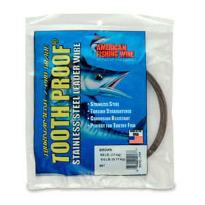 #7 ToothProof Stainless Steel Single Strand Leader, 69 lb (31 kg) test, .018 in (0.46 mm) dia, Camo, 1/4 lb (114 g)