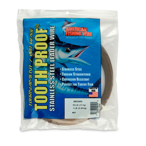 #7 Tooth Proof Stainless Steel Single Strand Leader Wire, 69 lb (31 kg) test, .018 in (0.46 mm) dia, Camo, 1 lb (454 g)