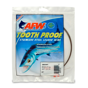 #7 Tooth Proof Stainless Steel Single Strand Leader Wire, 69 lb (31 kg) test, .018 in (0.46 mm) dia, Camo, 30 ft (9.2 m)