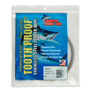 #7 ToothProof Stainless Steel Single Strand Leader, 69 lb (31 kg) test, .018 in (0.46 mm) dia, Bright, 1/4 lb (114 g)