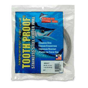 #7 ToothProof Stainless Steel Single Strand Leader, 69 lb (31 kg) test, .018 in (0.46 mm) dia, Bright, 1 lb (454 g)