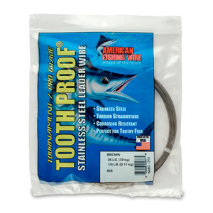 #8 Tooth Proof Stainless Steel Single Strand Leader Wire, 86 lb (39 kg) test, .020 in (0.51 mm) dia, Camo, 1/4 lb (114 g)