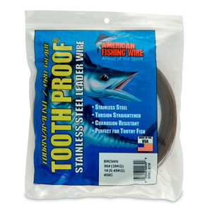 #8 Tooth Proof Stainless Steel Single Strand Leader Wire, 86 lb (39 kg) test, .020 in (0.51 mm) dia, Camo, 1 lb (454 g)