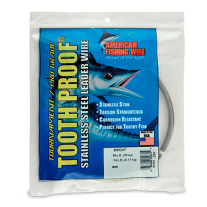 #8 ToothProof Stainless Steel Single Strand Leader, 86 lb (39 kg) test, .020 in (0.51 mm) dia, Bright, 1/4 lb (114 g)