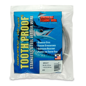 #8 ToothProof Stainless Steel Single Strand Leader, 86 lb (39 kg) test, .020 in (0.51 mm) dia, Bright, 1 lb (454 g)