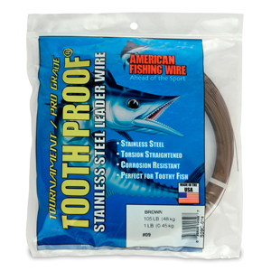 #9 Tooth Proof Stainless Steel Single Strand Leader Wire, 105 lb (48 kg) test, .022 in (0.56 mm) dia, Camo, 1 lb (454 g)
