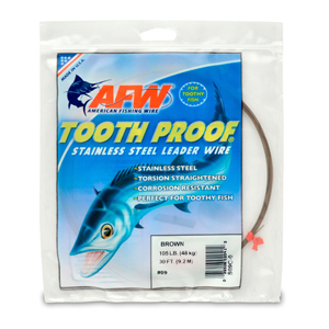 #9 Tooth Proof Stainless Steel Single Strand Leader Wire, 105 lb (48 kg) test, .022 in (0.56 mm) dia, Camo, 30 ft (9.2 m)