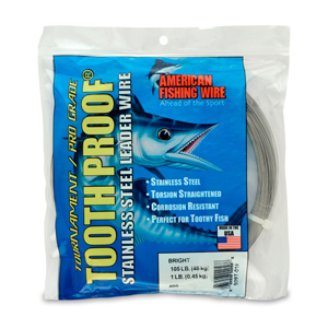 #9 ToothProof Stainless Steel Single Strand Leader, 105 lb (48 kg) test, .022 in (0.56 mm) dia, Bright, 1 lb (454 g)