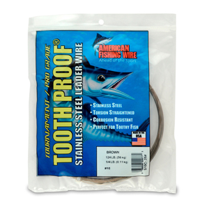 #10 ToothProof Stainless Steel Single Strand Leader, 124 lb (56 kg) test, .024 in (0.61 mm) dia, Camo, 1/4 lb (114 g)
