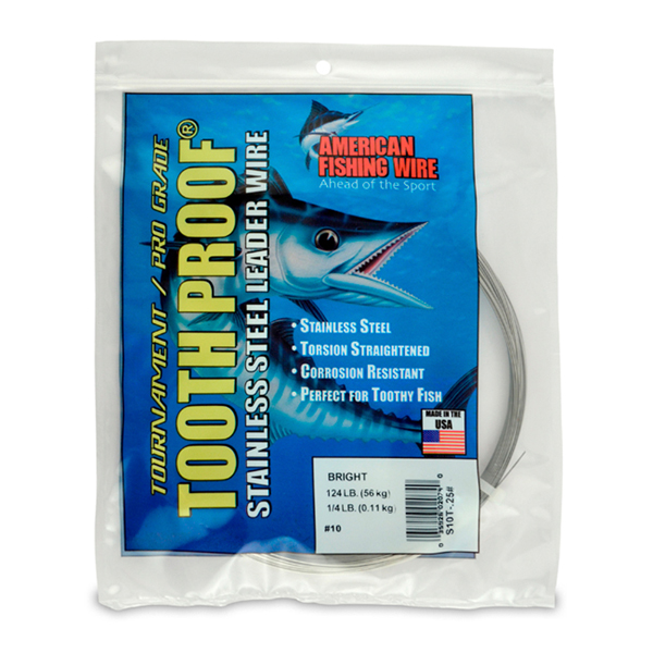 #10 Tooth Proof Stainless Steel Single Strand Leader Wire, 124 lb (56 kg) test, .024 in (0.61 mm) dia, Bright, 1/4 lb (114 g)