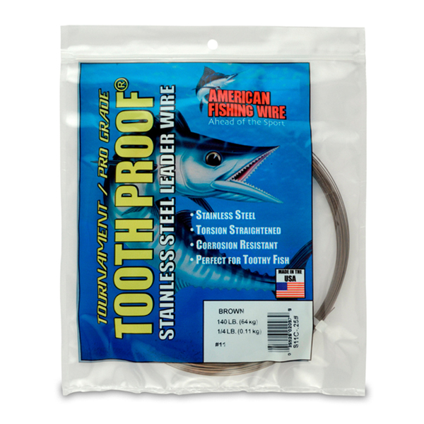 #11 ToothProof Stainless Steel Single Strand Leader, 140 lb (64 kg) test, .026 in (0.66 mm) dia, Camo, 1/4 lb (114 g)