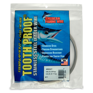 #11 ToothProof Stainless Steel Single Strand Leader, 140 lb (64 kg) test, .026 in (0.66 mm) dia, Bright, 1/4 lb (114 g)
