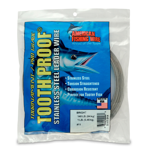 #11 Tooth Proof Stainless Steel Single Strand Leader Wire, 140 lb (64 kg) test, .026 in (0.66 mm) dia, Bright, 1 lb (454 g)