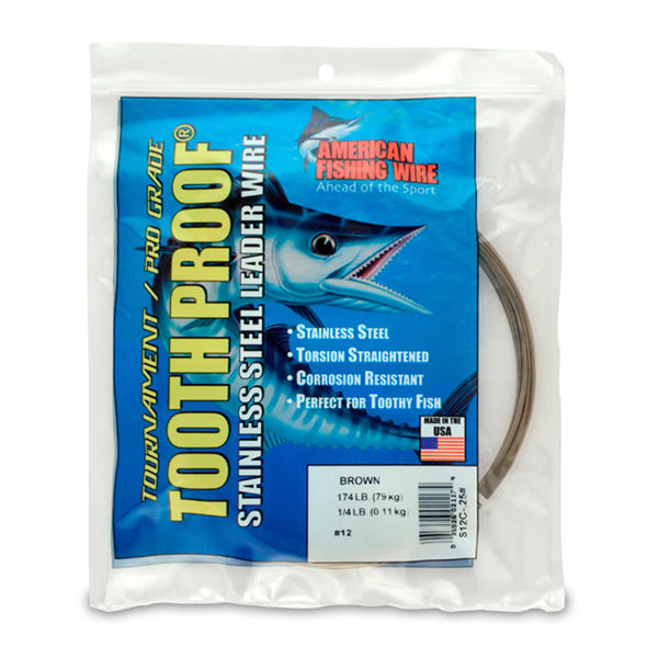 #12 ToothProof Stainless Steel Single Strand Leader, 174 lb (79 kg) test, .029 in (0.74 mm) dia, Camo, 1/4 lb (114 g)