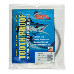 #12 ToothProof Stainless Steel Single Strand Leader, 174 lb (79 kg) test, .029 in (0.74 mm) dia, Bright, 1/4 lb (114 g)