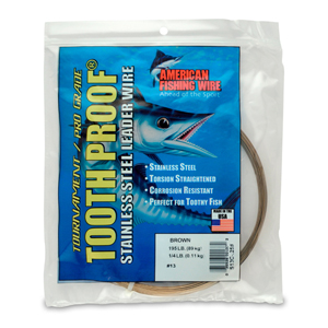#13 ToothProof Stainless Steel Single Strand Leader, 195 lb (89 kg) test, .031 in (0.79 mm) dia, Camo, 1/4 lb (114 g)