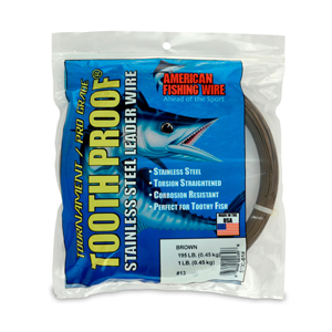 #13 ToothProof Stainless Steel Single Strand Leader, 195 lb (89 kg) test, .031 in (0.79 mm) dia, Camo, 1 lb (454 g)
