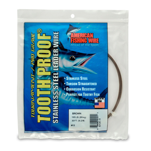 #13 ToothProof Stainless Steel Single Strand Leader, 195 lb (89 kg) test, .031 in (0.79 mm) dia, Camo, 30 ft (9.2 m)