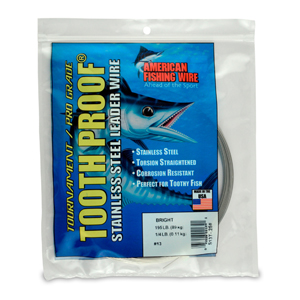 #13 ToothProof Stainless Steel Single Strand Leader, 195 lb (89 kg) test, .031 in (0.79 mm) dia, Bright, 1/4 lb (114 g)