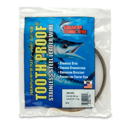 #14 ToothProof Stainless Steel Single Strand Leader, 218 lb (99 kg) test, .033 in (0.84 mm) dia, Camo, 1/4 lb (114 g)