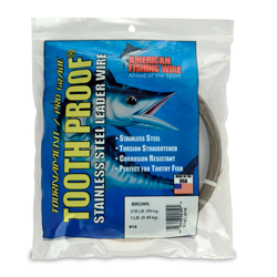 #14 ToothProof Stainless Steel Single Strand Leader, 218 lb (99 kg) test, .033 in (0.84 mm) dia, Camo, 1 lb (454 g)