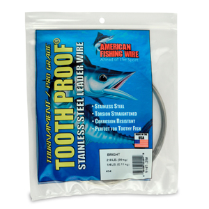 #14 ToothProof Stainless Steel Single Strand Leader, 218 lb (99 kg) test, .033 in (0.84 mm) dia, Bright, 1/4 lb (114 g)