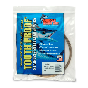 #15 ToothProof Stainless Steel Single Strand Leader, 240 lb (109 kg) test, .035 in (0.89 mm) dia, Camo, 1/4 lb (114 g)