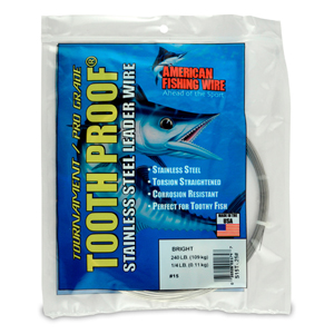 #15 ToothProof Stainless Steel Single Strand Leader, 240 lb (109 kg) test, .035 in (0.89 mm) dia, Bright, 1/4 lb (114 g)