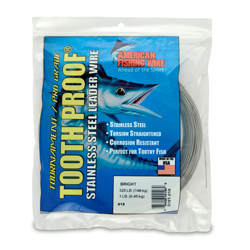 #18 ToothProof Stainless Steel Single Strand Leader, 325 lb (148 kg) test, .041 in (1.04 mm) dia, Bright, 1 lb (454 g)