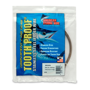 #19 ToothProof Stainless Steel Single Strand Leader, 360 lb (164 kg) test, .043 in (1.09 mm) dia, Camo, 1/4 lb (114 g)