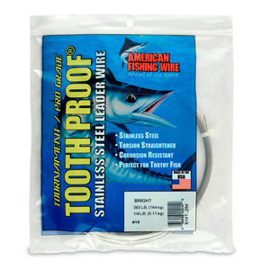 #19 ToothProof Stainless Steel Single Strand Leader, 360 lb (164 kg) test, .043 in (1.09 mm) dia, Bright, 1/4 lb (114 g)