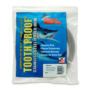 #19 ToothProof Stainless Steel Single Strand Leader, 360 lb (164 kg) test, .043 in (1.09 mm) dia, Bright, 1 lb (454 g)