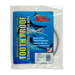 #19 ToothProof Stainless Steel Single Strand Leader, 360 lb (164 kg) test, .043 in (1.09 mm) dia, Bright, 30 ft (9.2 m)