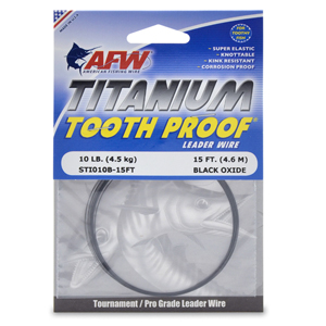 Titanium Tooth Proof, Single Strand Leader Wire, 10 lb (5 kg) test, .009 in (0.21 mm) dia, Black Oxide, 15 ft (4.6 m)