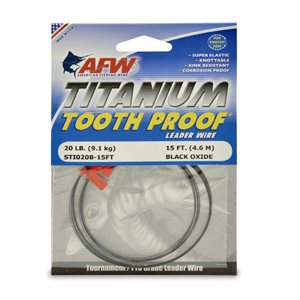Titanium Tooth Proof, Single Strand Leader Wire, 20 lb (9 kg) test, .012 in (0.35 mm) dia, Black Oxide, 15 ft (4.6 m)