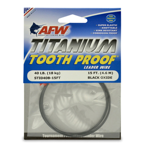 Titanium Tooth Proof, Single Strand Leader Wire, 40 lb (18 kg) test, .017 in (0.43 mm) dia, Black Oxide, 15 ft (4.6 m)